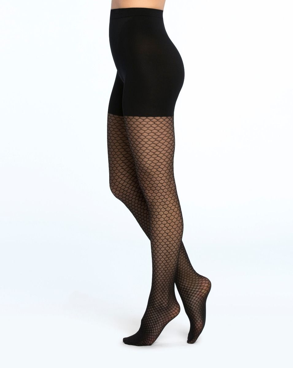 0f6e5a24aa153 Honeycomb Fishnet Mid-Thigh Shaping Tights