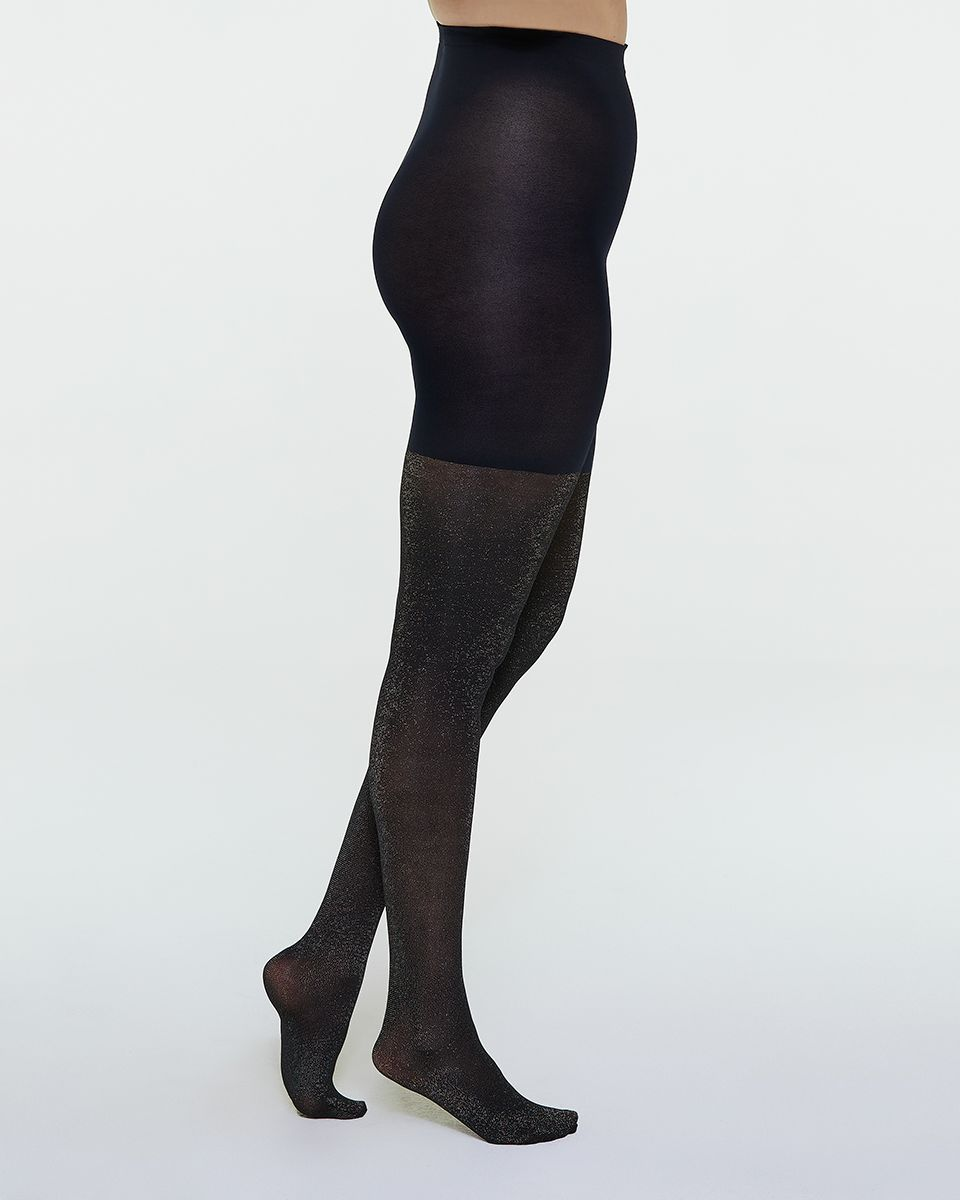 48aac23ca9a2a Metallic Shimmer Mid-Thigh Shaping Tights
