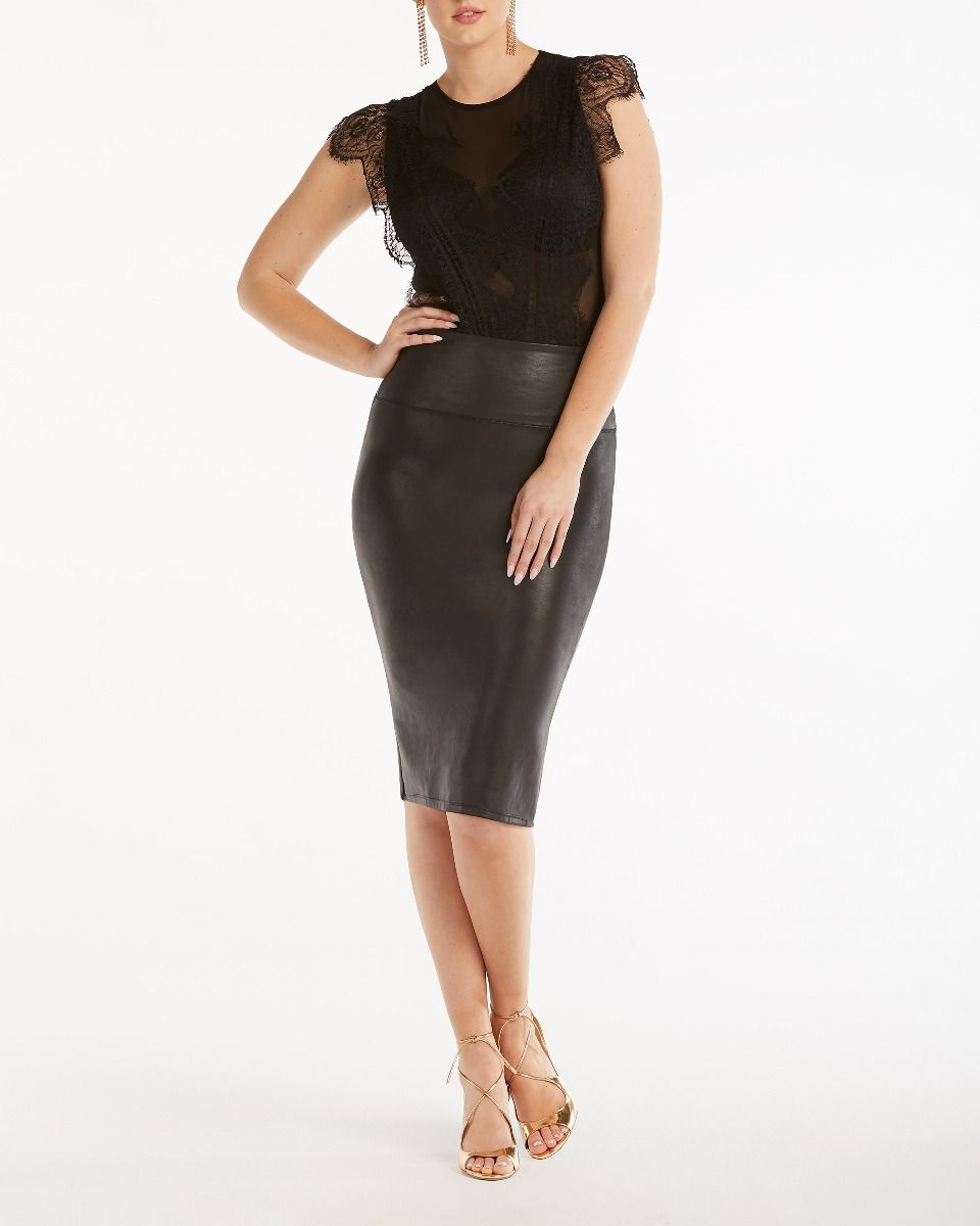 a50ab922ec Faux Leather Pencil Skirt