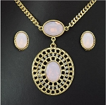 Large Opal Pendant Long Necklace Set