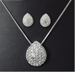 Full Crystal Tear Drop Necklace and Earring Set