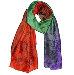 Silk Feeling Multi Color Gradient Scarves