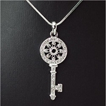 Beautiful Crystal Key Pendant Necklace