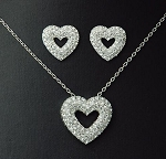 Full Crystal Heart Pendant Necklace & Earring Set