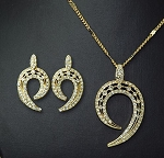 Crystal Half Round Pendant Necklace & Earring Set