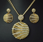 Luxury Crystal 3D Circle Pendant long Necklace & Earring Set