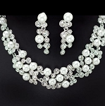 Luxury Pearl & Crystal Rounded Necklace and Earring Set