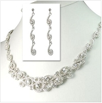 Stunning Swirl Patterned Crystal Necklace and Earrings