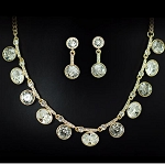 Luxury Two Tone Rhinestone Rounded Necklace & Earring Set
