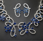 Luxury Royal Blue Cubic Flower Earring and Necklace Set