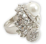 Pearl and Crystal Ball Crossed Ring - Sold In-Store Only
