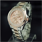Crystal Round Face Metal Fashion Watch