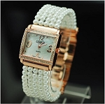 Square Face Pearl Band Watch