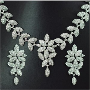 Elegant Crystal Leaves Necklace and Earring Set