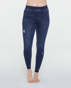 Distressed Denim Leggings