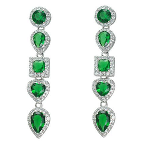 Luxury Cubic Emerald Dangle Earrings