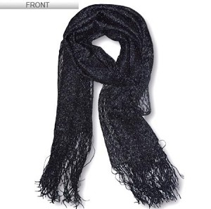 Beautiful Shiny Lace Patterned Long Scarf