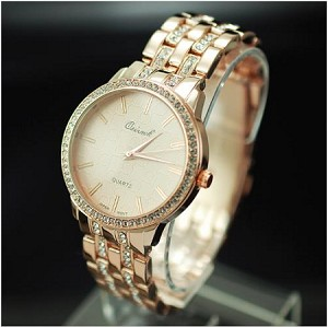 Crystal Round Face Fashion Metal Watch