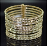 Luxury 10 Row Crystal Wire Cuff