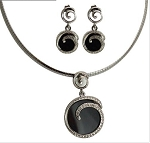 Black Onyx Snake Chain Necklace Set