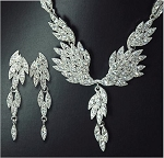 Crystal Leaf Drop Necklace and Earring Set