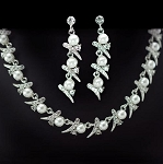 Classic Pearl & Crystal Necklace and Earring Set