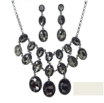 Luxury Crystal Multi Rounded Necklace & Crystal Drop Earring Set