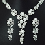 Elegant Crystal & Pearl Drop Necklace & Earring Set