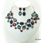 Luxury Crystal Multi Rounded Necklace & Drop Earring Set