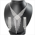 Luxury Elegant Crystal Full Square and Necklace Set