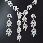 Delicate Crystal Leaves Necklace and Earring Set