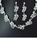 Luxury Flower Garden Crystal Necklace and Earring Set