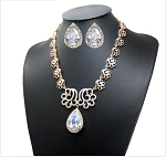 Fancy Large Cubic Pendant Necklace and Earring Set (COPY)