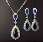 Luxury Royal Blue Teardrop Earring and Necklace Set