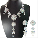 Gorgeous Crystal Flowers and Tear Drops Necklace and Earrings Set