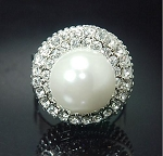Crystal Surrounded Pearl Ring - Sold In-Store Only