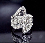 Designer Look Floral Pattern Wide Band Crystal Ring - Sold In-Store Only