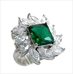 Rectagle Emerald with Cubic Stone Ring - Sold In-Store Only