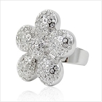 Beautiful Flower Crystal and Silver Ring - Sold In-Store Only