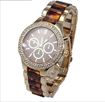 Designer Look Double Crystal Lined Watch