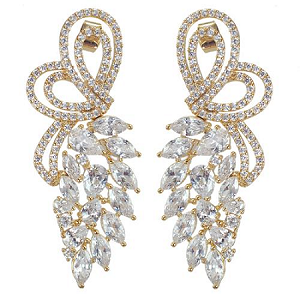 Luxury Cubic Leaves Party Earrings