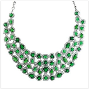 High Quality Real Cubic Emerald Party Necklace