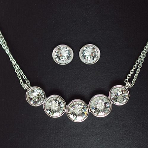 Simple 5 Diamond Classic Necklace and Earring Set