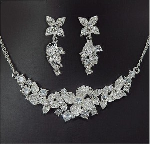 Crystal Flower Necklace & Earring Set