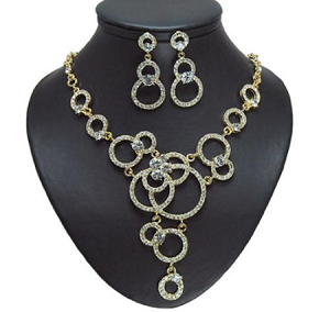 Circle Drop Crystal Necklace Sets