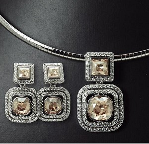 Luxury Swarovski Square Crystal Necklace & Earring Set