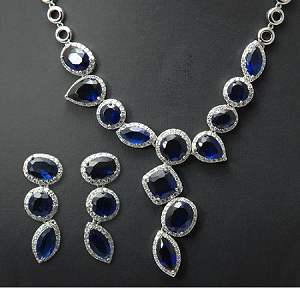 Luxury Royal Blue Cubic Drop Earring and Necklace Set