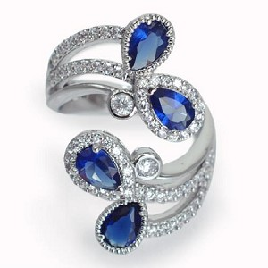 Blue Crystal Teardrop Curvy Ring