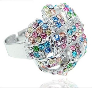 Shiny Multicolor Crystal Pendant Adjustable Ring - Sold In-Store Only