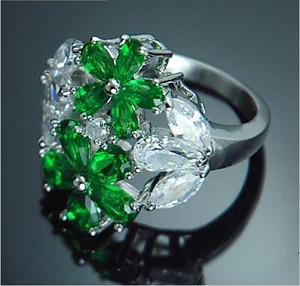 Shiny Emerald Flower Ring - Sold In-Store Only